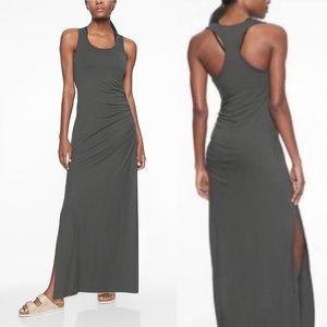 Athleta Playa Gray Ruched Maxi Dress Size Small S